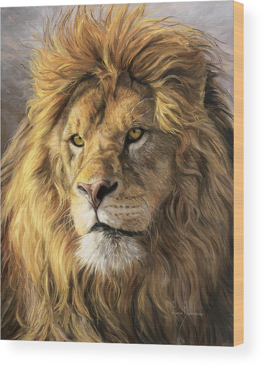 Lion Wood Print featuring the painting Portrait Of A Lion by Lucie Bilodeau