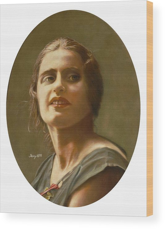 Portrait Of Ayn Rand Wood Print featuring the painting Portrait of Ayn Rand by Robert Tracy