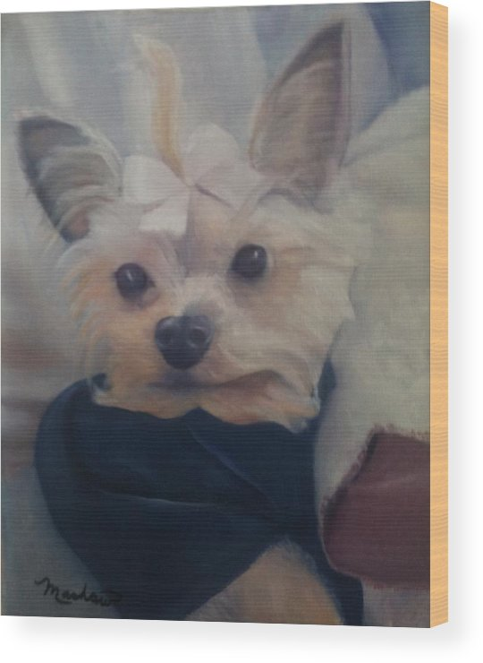 Dog Wood Print featuring the painting Princess Pricilla by Sheila Mashaw