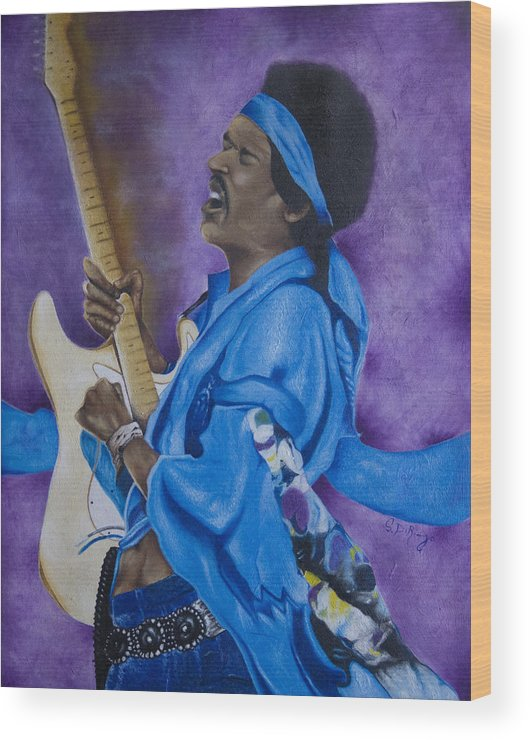 Portraiture Wood Print featuring the painting Purple Haze by Stephen J DiRienzo