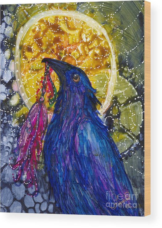 Raven Wood Print featuring the painting Reveling Raven by Francine Dufour Jones