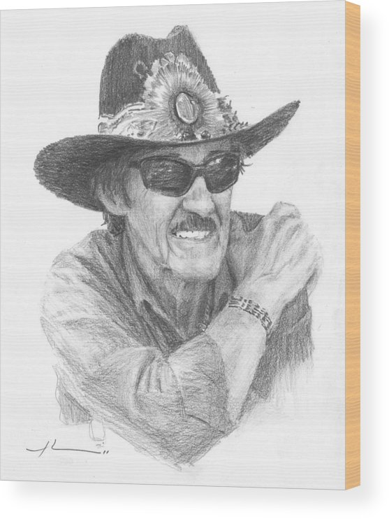 <a Href=http://miketheuer.com Target =_blank>www.miketheuer.com</a> Richard Petty Pencil Portrait Wood Print featuring the drawing Richard Petty Pencil Portrait by Mike Theuer