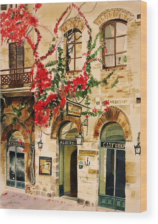 Award-winning Wood Print featuring the painting San Gimignano by Judy Swerlick