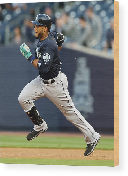 American League Baseball Wood Print featuring the photograph Seattle Mariners V New York Yankees by Elsa