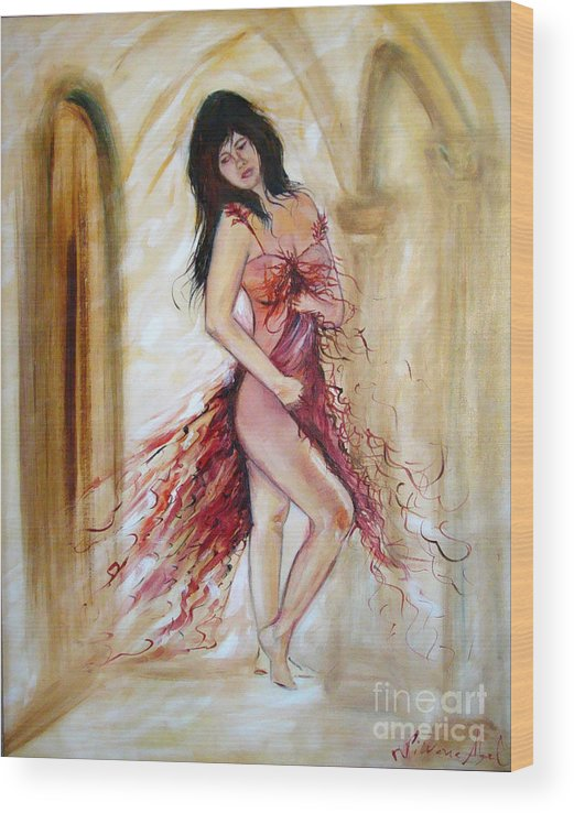 Contemporary Art Wood Print featuring the painting She by Silvana Abel