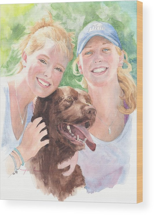 <a Href=http://miketheuer.com Target =_blank>www.miketheuer.com</a> Sisters & Chocolate Lab In Sun Watercolor Portrait Wood Print featuring the painting Sisters And Chocolate Lab In Sun Watercolor Portrait by Mike Theuer