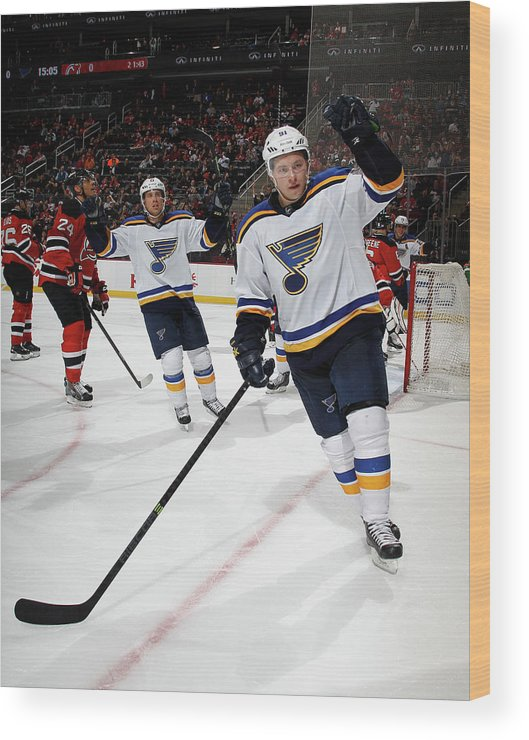 People Wood Print featuring the photograph St Louis Blues V New Jersey Devils by Bruce Bennett
