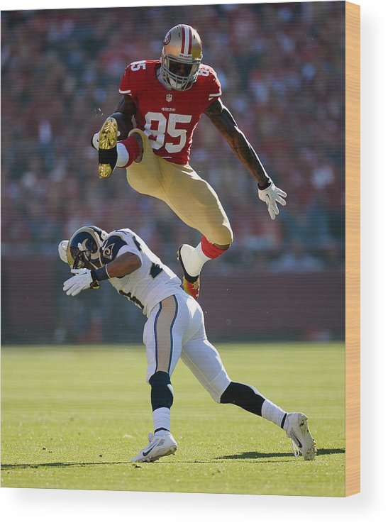 Candlestick Park Wood Print featuring the photograph St Louis Rams V San Francisco 49ers by Thearon W. Henderson