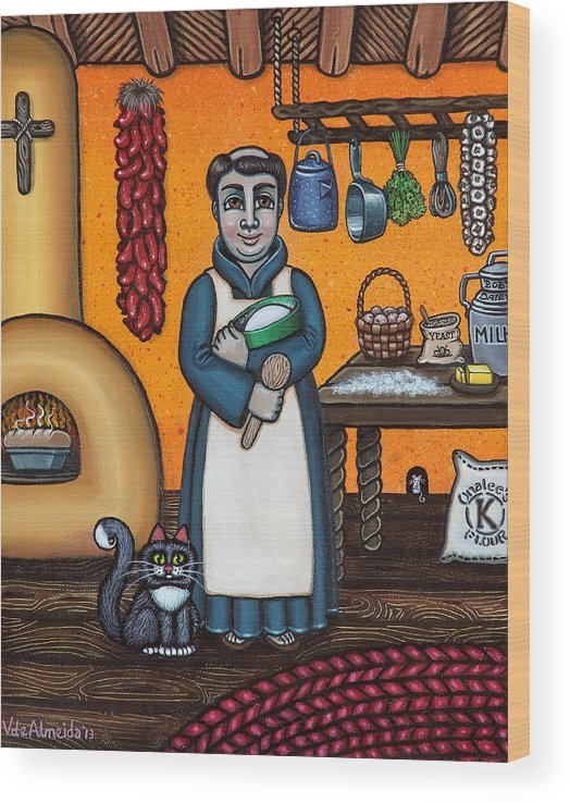 San Pascual Wood Print featuring the painting St. Pascual Making Bread by Victoria De Almeida