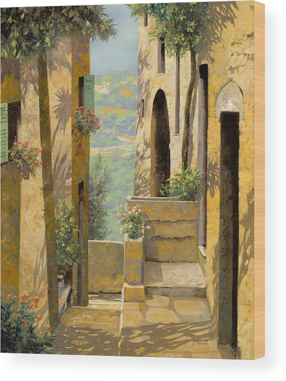 Landscape Wood Print featuring the painting stradina a St Paul de Vence by Guido Borelli