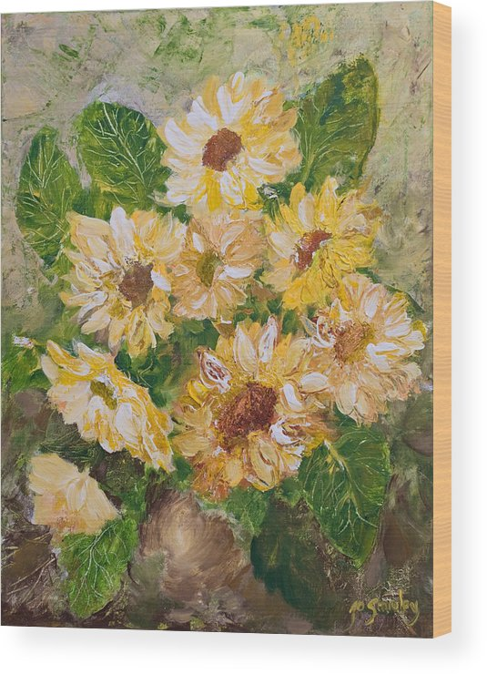 Sunflowers Wood Print featuring the painting Sunflowers Forever by Jo Smoley
