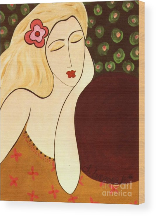 #female #figurative #floral Wood Print featuring the painting Sweet Sixteen by Jacquelinemari