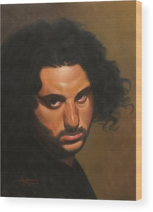 Portrait Wood Print featuring the painting The Young Italian by Gary Hernandez