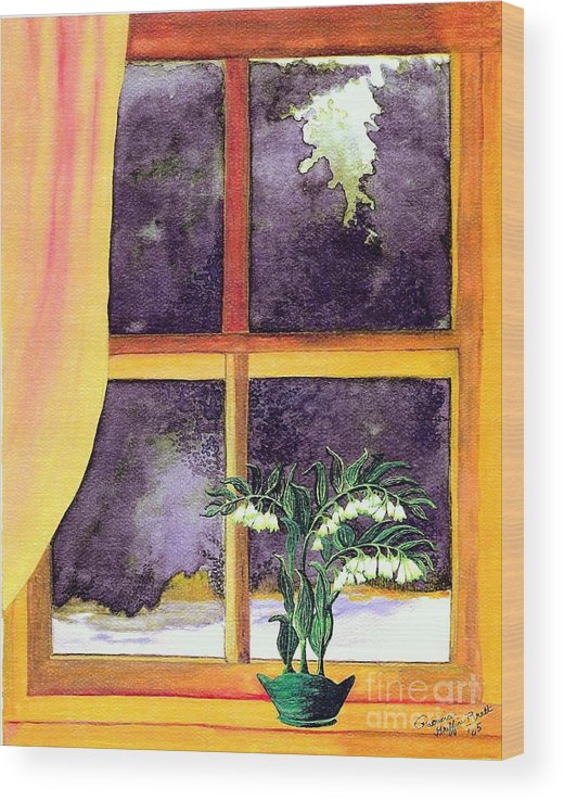Fine Art Wood Print featuring the painting Through the Window by Patricia Griffin Brett