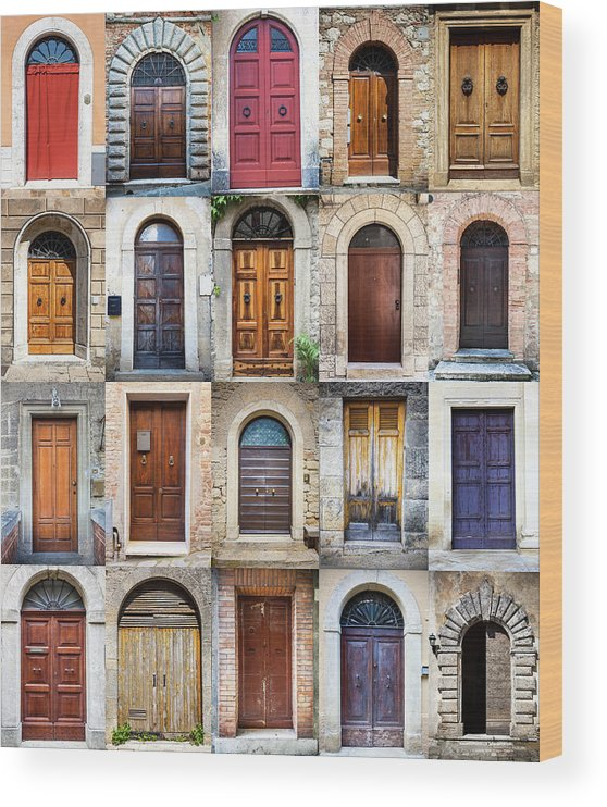 Arch Wood Print featuring the photograph Tuscan Wooden Doors, Italy by Moreiso