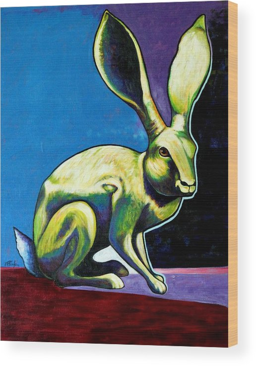Hare Wood Print featuring the painting Under The Radar Jackrabbit by Joe Triano