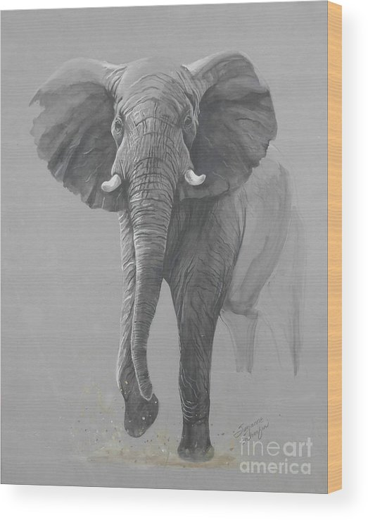 Elephant Wood Print featuring the painting Vanishing Thunder by Suzanne Schaefer