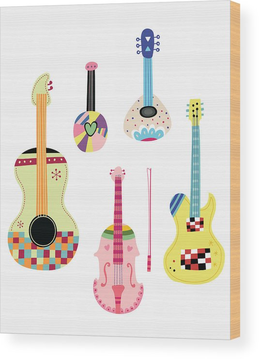 White Background Wood Print featuring the digital art Various Kinds Of Stringed Instruments by Eastnine Inc.