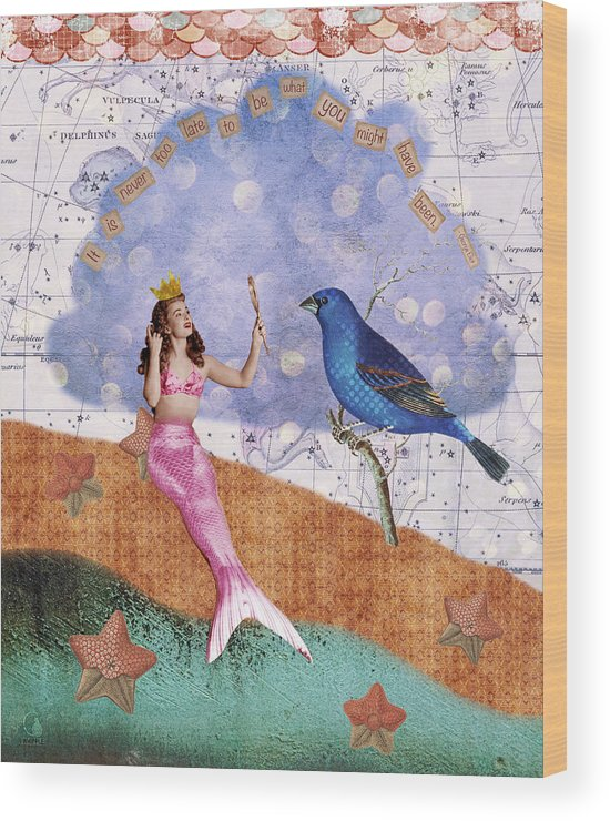 Vintage Collage Wood Print featuring the digital art Vintage Mermaid Bird Collage by Cat Whipple