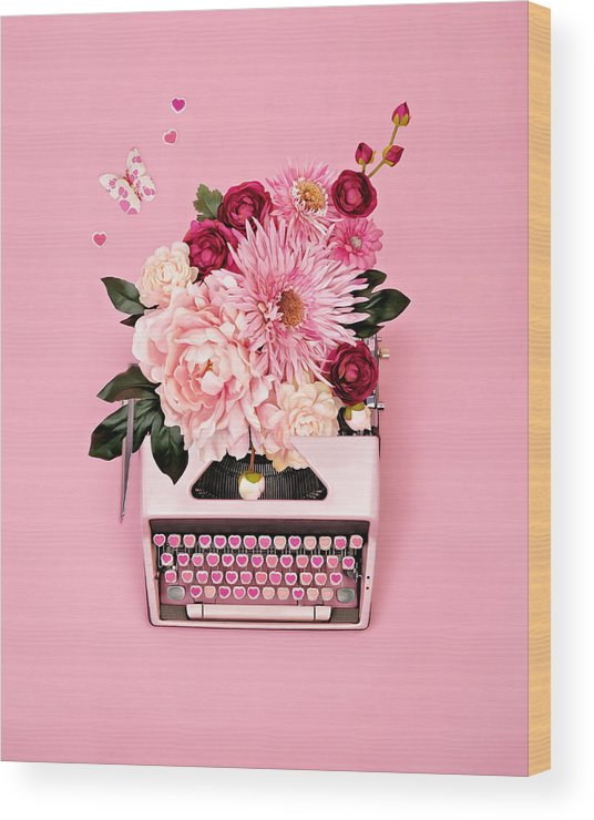 Typewriter Wood Print featuring the photograph Vintage Typewriter With Flowers by Juj Winn