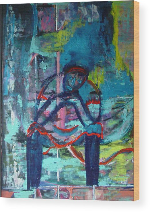 Woman On Bench Wood Print featuring the painting Waiting by Peggy Blood