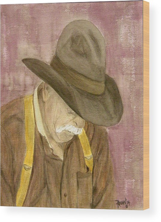 Western Wood Print featuring the painting Walter by Regan J Smith