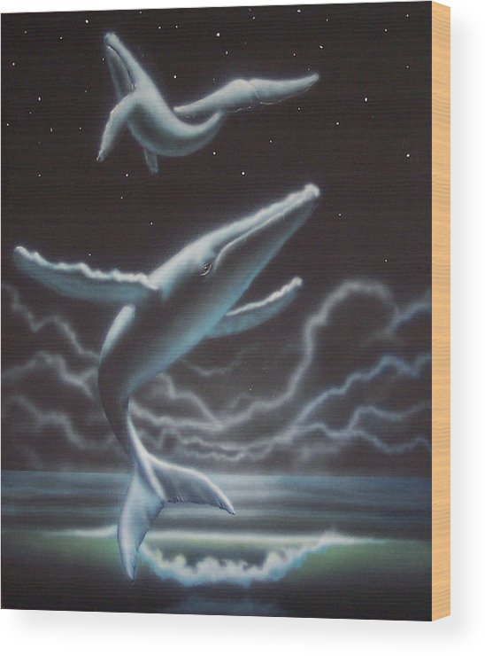 Whales Wood Print featuring the painting Whales in the Sky by Philip Fleischer