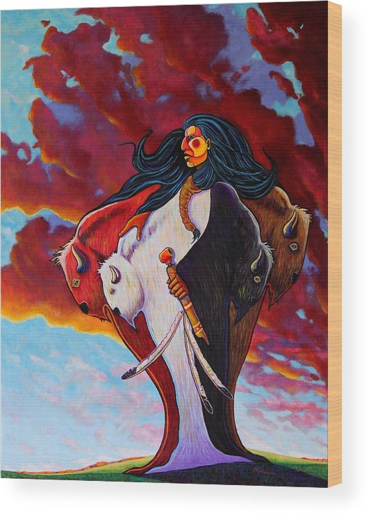 Native American Wood Print featuring the painting When The White Buffalo Woman First Appeared by Joe Triano