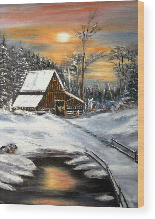 Landscape Wood Print featuring the painting Winter Barn by Kenneth LePoidevin