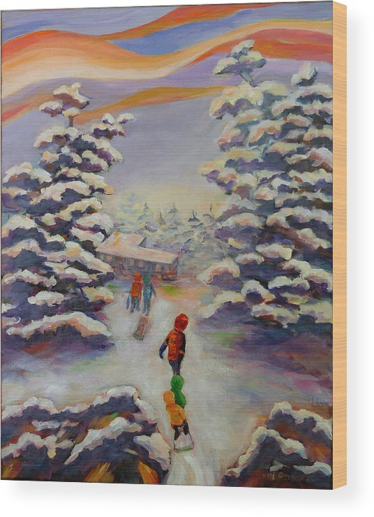 Winter In The Woods Wood Print featuring the painting Winter Comfort by Naomi Gerrard