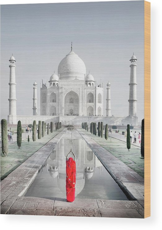 Tranquility Wood Print featuring the photograph Woman In Red Sari Praying At Taj Mahal by Grant Faint