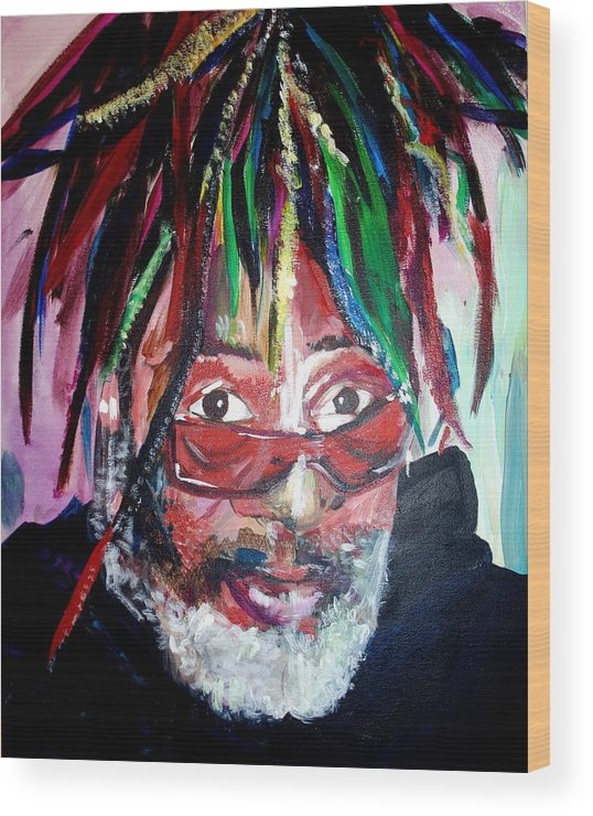 Wood Print featuring the painting George Clinton by Kate Fortin