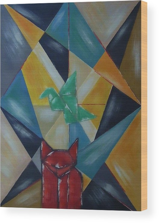 Abstract Wood Print featuring the painting Cat and bird by Joseph Ferguson
