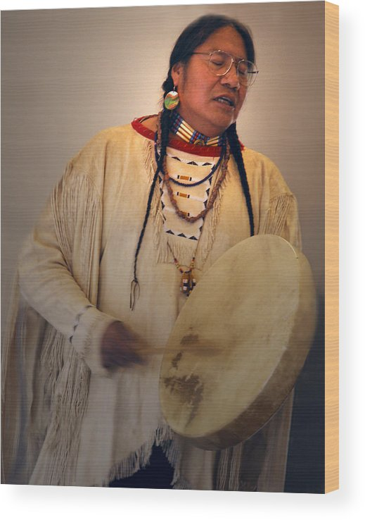 Drum Wood Print featuring the photograph Cheyenne Native American Drummer by Nancy Griswold