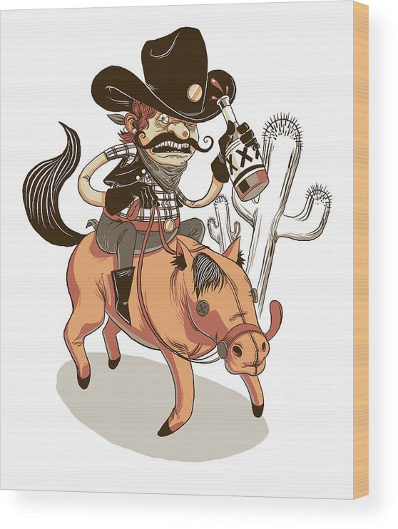Cowboy Wood Print featuring the digital art Giddy Up by Michael Myers