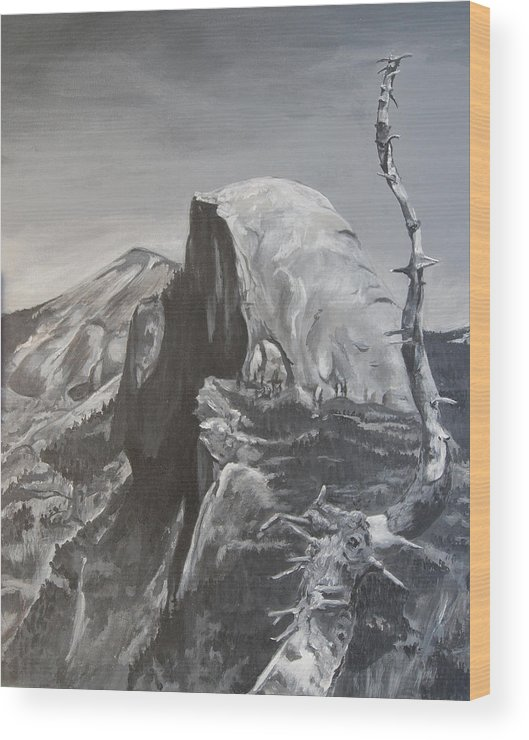 Black And White Painting Wood Print featuring the painting Half Dome Tree by Travis Day