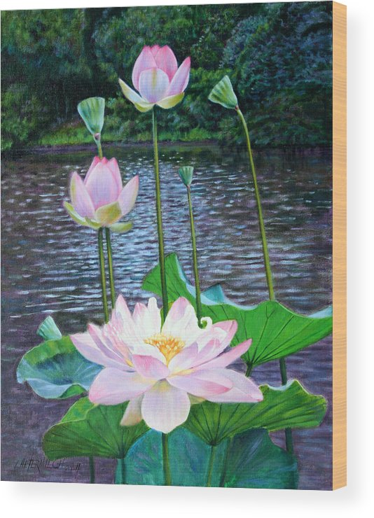 Lotus Wood Print featuring the painting Lotus by John Lautermilch