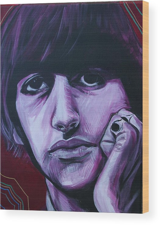 Beatles Wood Print featuring the painting Ringo Star by Kate Fortin