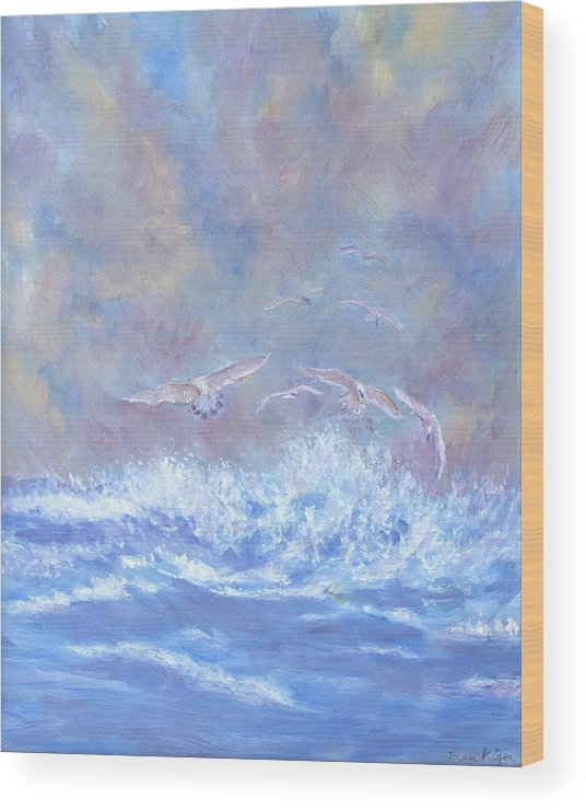 Seascape Wood Print featuring the painting Seagulls at Play by Ben Kiger