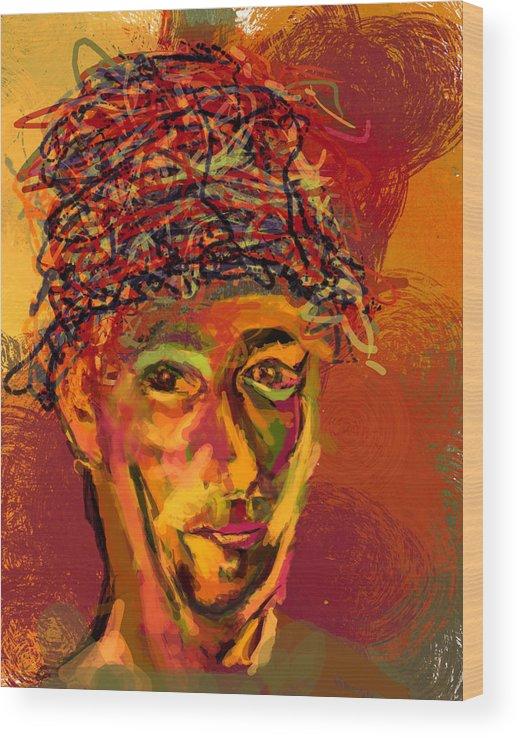 Stu Wood Print featuring the digital art Stu's Funny Hat by James Thomas