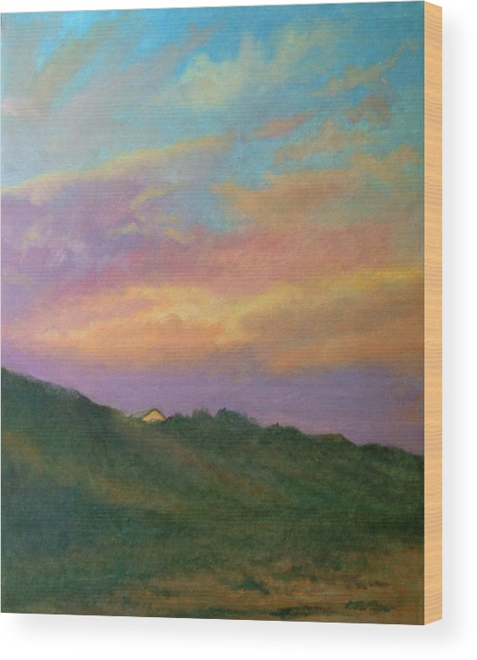 Landscape Wood Print featuring the painting Truro Sunset by Phyllis Tarlow
