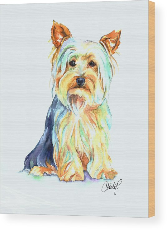 Yorkie Wood Print featuring the painting Yorkie Dog Portrait by Christy Freeman Stark