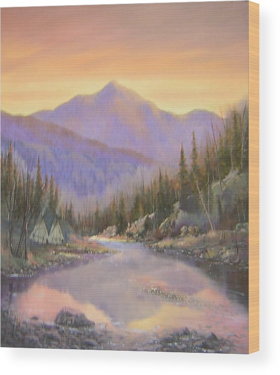 Landscape Wood Print featuring the painting 060526-2024 Times Past  by Kenneth Shanika