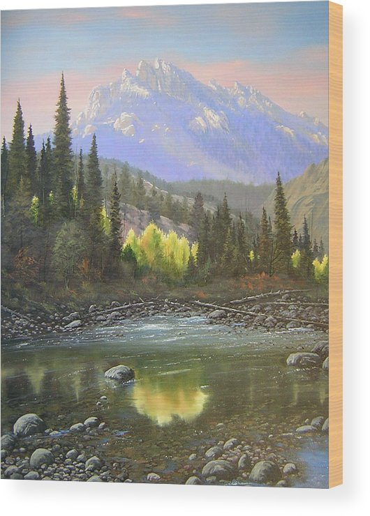 Landscape Wood Print featuring the painting 060409-2430 Long Scraggy Mountain - Reflections  by Kenneth Shanika