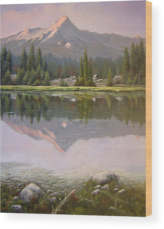 Landscape Wood Print featuring the painting 060923-2430 Reflections At Days End  by Kenneth Shanika