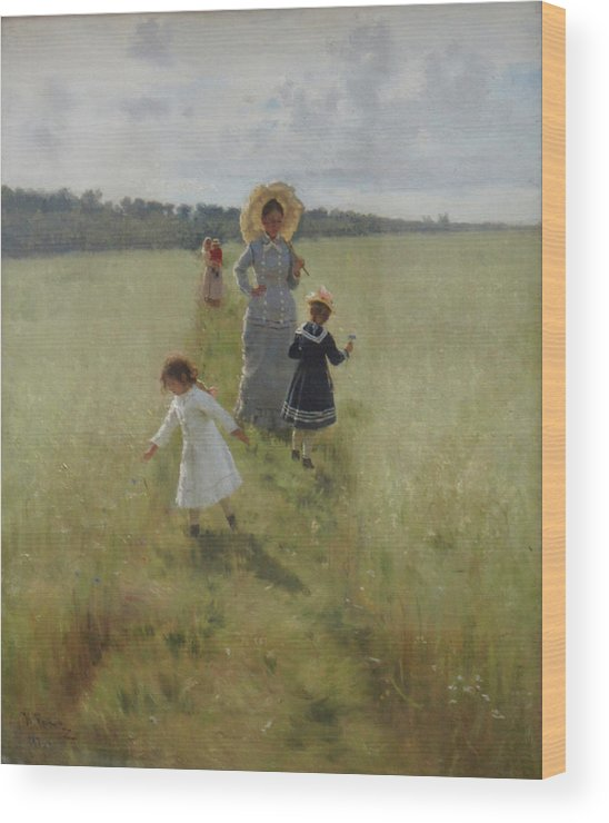 Ilya Repin Wood Print featuring the painting At the Boundary by Ilya Repin