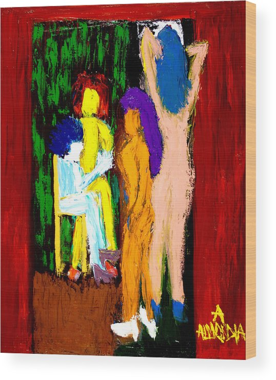 Women Wood Print featuring the painting Backstage Drama by Albert Almondia