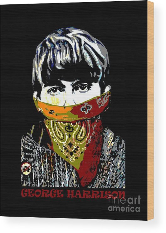 Banksy Wood Print featuring the photograph George Harrison wearing a face mask by RicardMN Photography