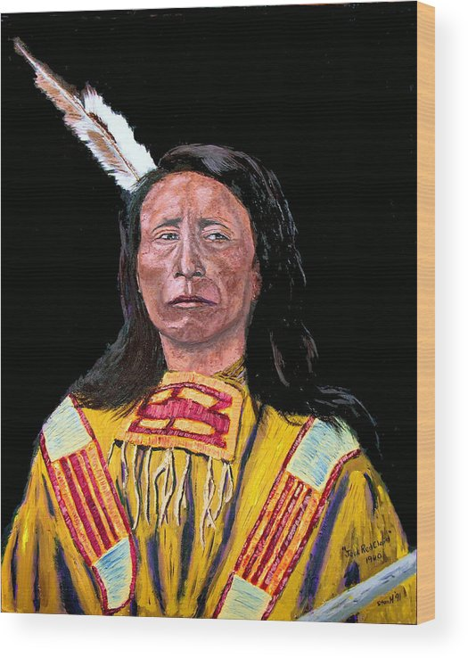 Indian Wood Print featuring the painting Jack Red Cloud by Stan Hamilton