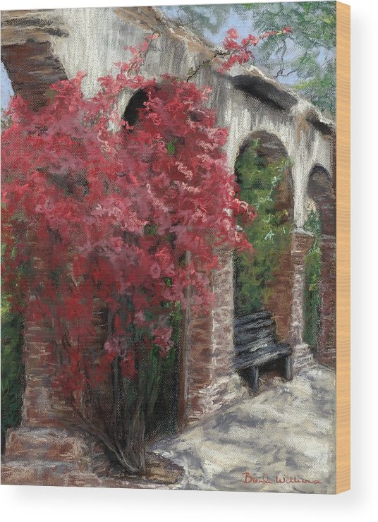 Mission Wood Print featuring the painting Mission Arches by Brenda Williams